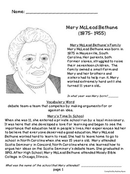 Mary McLeod Bethune Bundle - Facts Book and 2 Scoot Games