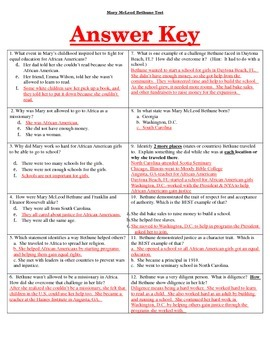 Mary McLeod Bethune Combo!  Test and Study Guide!!!