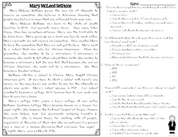 Mary McLeod Bethune Differentiated Reading Passages