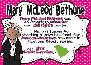 Mary McLeod Bethune: Famous American Mini Unit {PowerPoint & Printables}