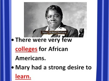 Mary McLeod Bethune POWERPOINT- 3rd SS