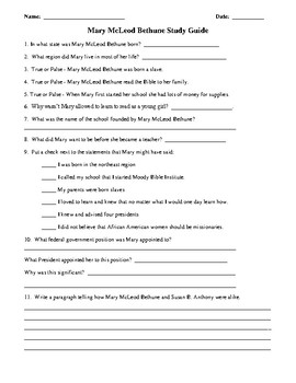 Mary McLeod Bethune Study Guide & Test