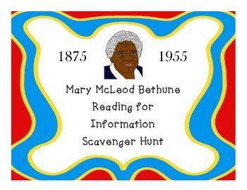 Mary McLeod Bethune Scavenger Hunt Cards