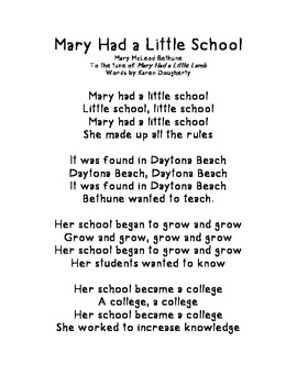 Mary McLeod Bethune Song - Tune of Mary Had a Little Lamb