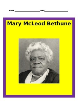 Mary McLeod Bethune Study Guide- 3rd Grade Social Studies