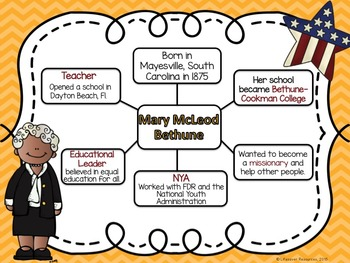 Mary McLeod Bethune Task Cards, Board Game, Posters, and Printables