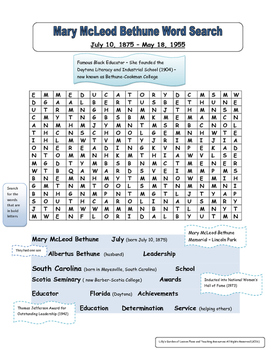 Mary McLeod Bethune Word Search