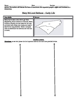Mary McLeod Bethune- Worksheet- Early Life