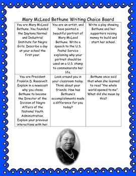 Mary McLeod Bethune Writing Choice Board
