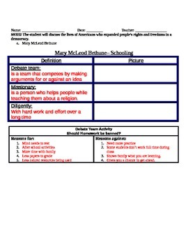 Mary McLeod Bethune- worksheet- Schooling