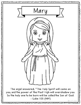 mary mother of jesus christmas coloring page craft bible verse