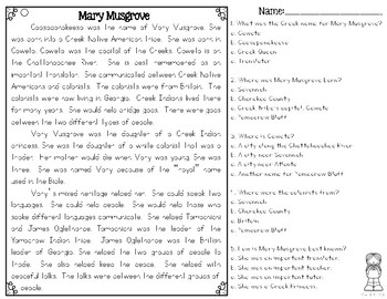 Mary Musgrove Differentiated Reading Passages & Questions
