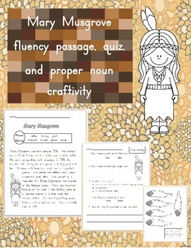 Mary Musgrove Fluency Passage and plural nouns craftivity