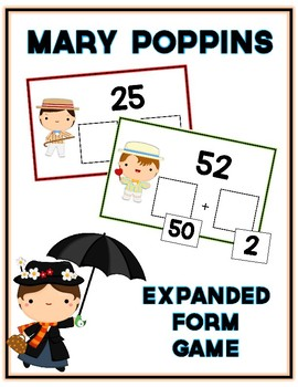 Mary Poppins Expanded Form Math File Folder Game Place Value Tens & Ones