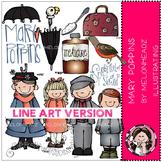 Mary Poppins clip art - LINE ART- by Melonheadz