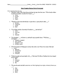 Mary Poppins Musical Movie Worksheet