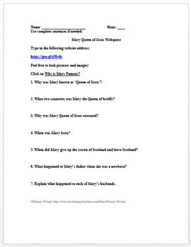Mary Queen of Scots Webquest: Tudors