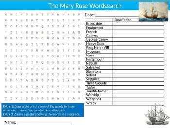 Mary Rose Wordsearch Sheet Starter Activity Keywords Cover History