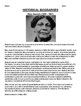 Mary Seacole  Biography Article and (3) Assignments