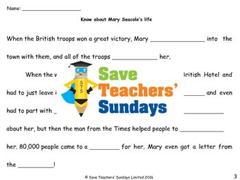 Mary Seacole Lesson plan and Worksheets