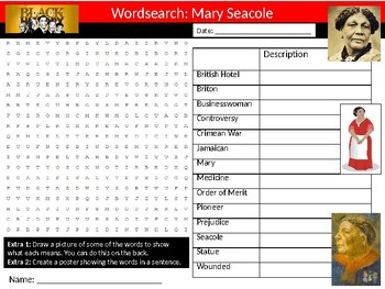 Mary Seacole Wordsearch Black History Month Keywords Settler Homework Cover