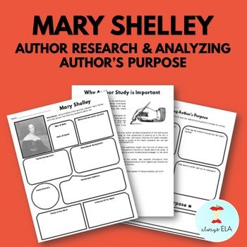 Mary Shelley - Author Study Worksheet, Author's Purpose, Author Research
