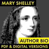 Mary Shelley Author Study Worksheet, Easy Biography Activi