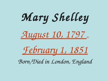 Mary Shelley - Background to her Life and her Novel