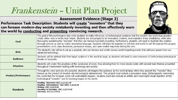 Frankenstein by Mary Shelley - Unit Plan & Performance Assessment / Project