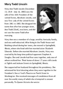 Mary Todd Lincoln Handout
