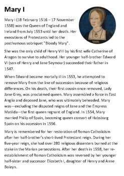 Mary Tudor Handout