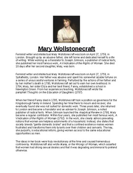 Mary Wollstonecraft Article Assignment and Biography