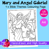 """Mary and Angel Gabriel"" Bible Coloring Sheet/Colouring Page (Religious/Church)"