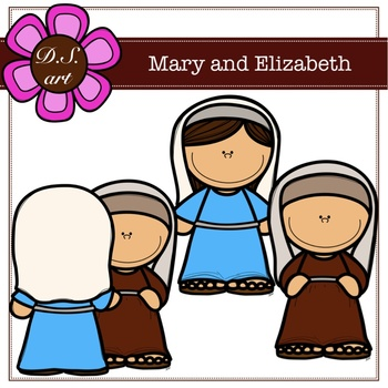Mary and Elizabeth Digital Clipart (color and black&white)