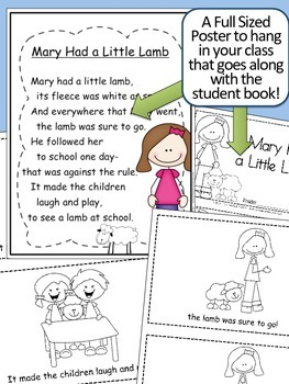 Mary had a Little Lamb Nursery Rhyme Emergent Reader & Class Poster