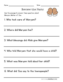 Maryam, Islamic Biography and Reading Questions