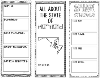 Maryland - State Research Project - Interactive Notebook - Mini Book