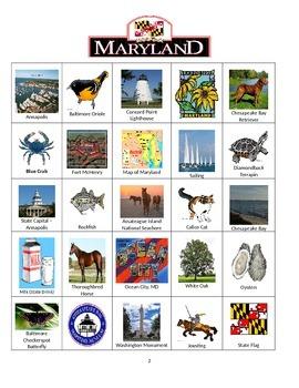 Maryland Bingo:  State Symbols and Popular Sites