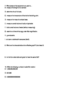 Maryland Biology High School Assessment Goal 1 Review Questions