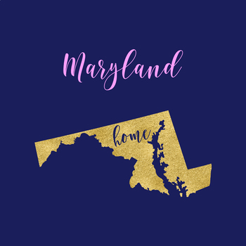 Maryland Clipart, USA State Vector Clipart, Maryland Home, Gold US Clipart