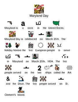 Maryland Day - March 25 - picture supported text visually supported lesson