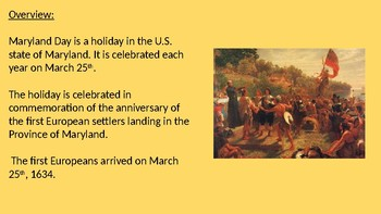 Maryland Day - power point review history facts information celebration