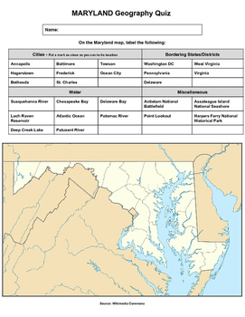 Maryland Geography Quiz