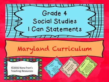Maryland Grade 4 Social Studies I Can Statement Posters