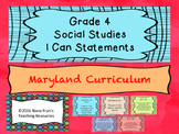 Maryland Grade 4 Social Studies I Can Statement Posters White Background