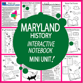 Maryland History–Interactive Notebook Maryland State Study Unit + AUDIO!