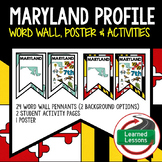Maryland History Word Wall, State Profile, Activity Pages