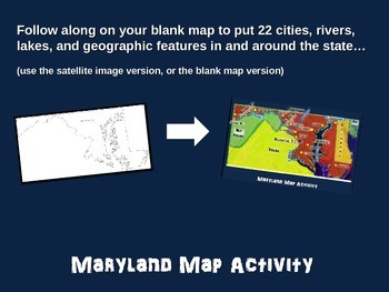 Maryland Map Activity- fun, engaging, follow-along 20-slide PPT