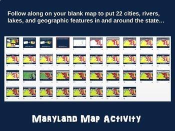 Maryland Map Activity- fun, engaging, follow-along 20-slide PPT