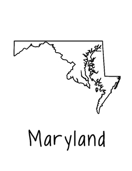 Maryland Map Coloring Page Craft - Lots of Room for Note-Taking & Creativity